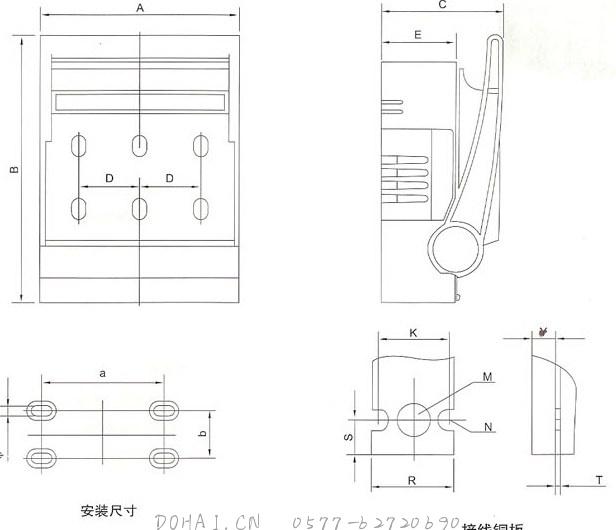 HR18熔断器式隔离开关的外型及安装尺寸