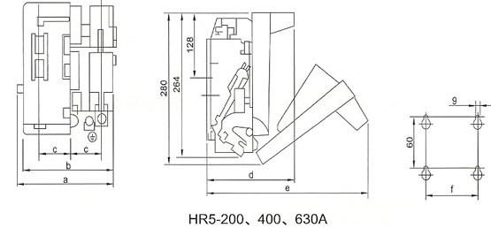 HR5-200\400\630A的外型安装尺寸