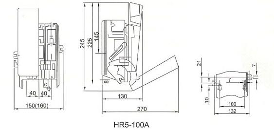 HR5熔断器式隔离开关的外型安装尺寸