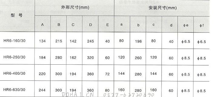 HR6熔断器式隔离开关的外型尺寸详细参数