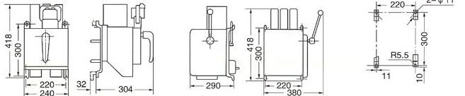 DW15、DW15C系列万能式断路器的外型及安装尺寸