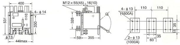 DW15-1000~1500A外型尺寸及安装尺寸