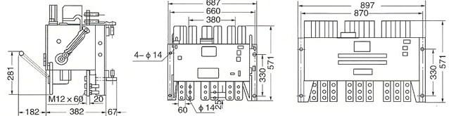 DW15-2500A与DW15-4000A的外型尺寸及安装尺寸