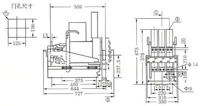 DW17C-1605抽屉式断路器外形尺寸的外型尺寸