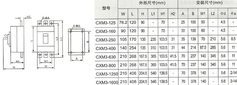 CXM3系列塑壳式断路器的外型及安装尺寸