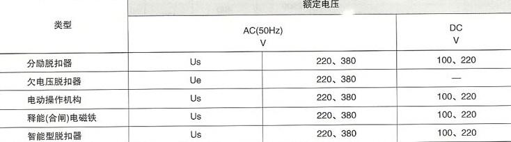 SRW45系列智能型万能式断路器的欠电压保护器等参数
