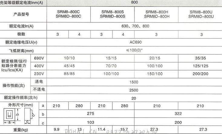 DHM8系列塑料外壳式断路器800的主要技术参数