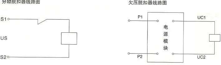 DHM8系列塑料外壳式断路器的分励脱扣器接线图