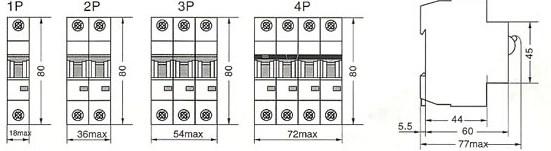 DHM18-63系列高分断小型断路器的外型尺寸