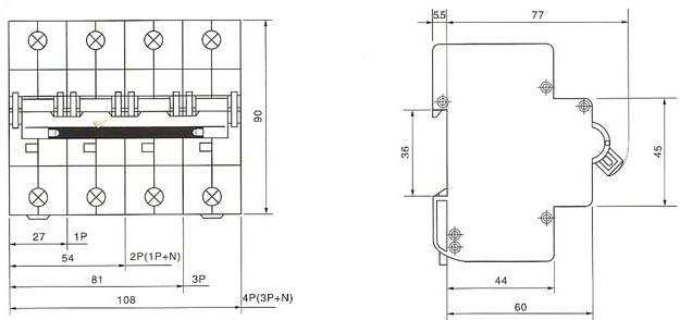DHM18-125系列高分断小型断路器的外型及安装尺寸