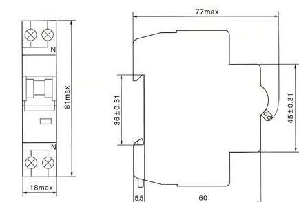 DHM18-40/1N系列小型断路器的外型及安装尺寸