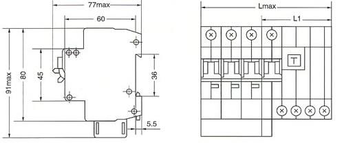SRM18LE(L7)系列漏电断路器的安装示意图