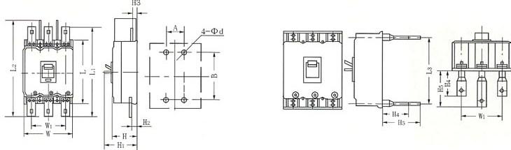 DZ20系列塑料外壳式断路器的外型及安装尺寸