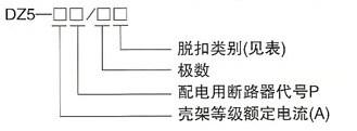DZ5系列塑料外壳式断路器的型号及含义