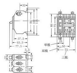 DZ12-60塑料外壳式断路器的外型及安装尺寸
