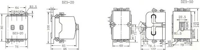 DZ5系列塑料外壳式断路器的外型及安装尺寸