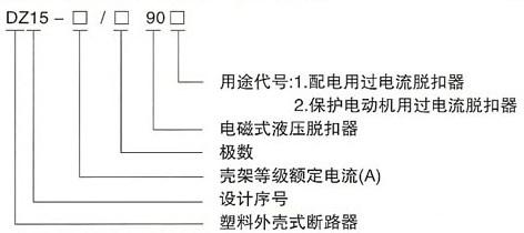 DZ15系列塑料外壳式断路器的型号及含义