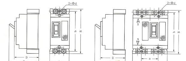 DZ15系列塑料外壳式断路器的安装示意图