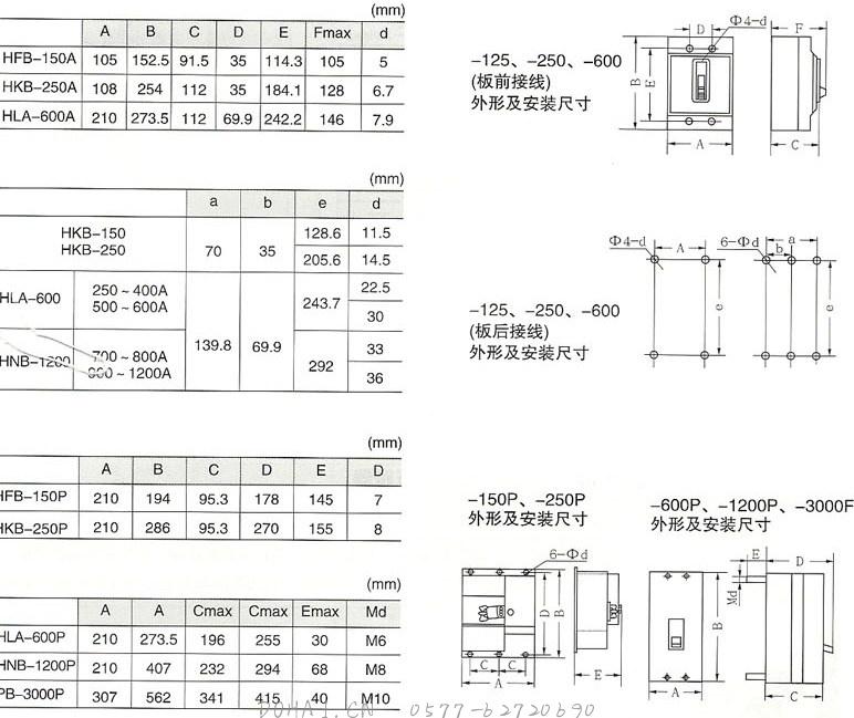 H系列塑料外壳式断路器的外型及安装尺寸