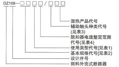 DZ108系列塑料外壳式断路器的型号及含义