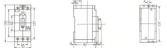 DZ108-63外形及安装尺寸