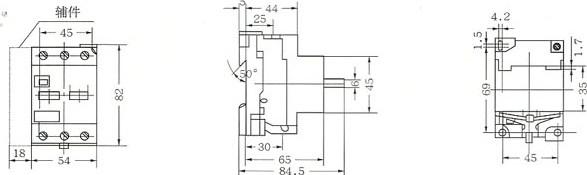 DZ108-20外形及安装尺寸