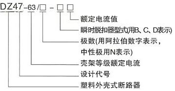 DZ47-63高分断小型断路器的型号及含义