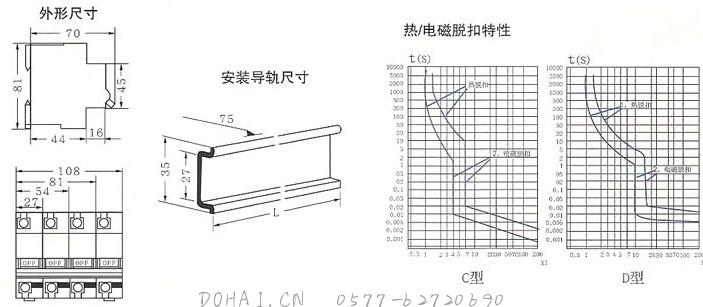 DZ47-100高分断小型断路器的外型及安装尺寸
