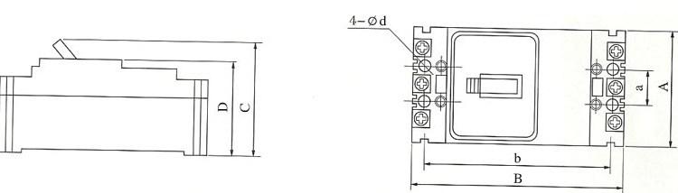 DZ20L系列漏电断路器外型及安装尺寸
