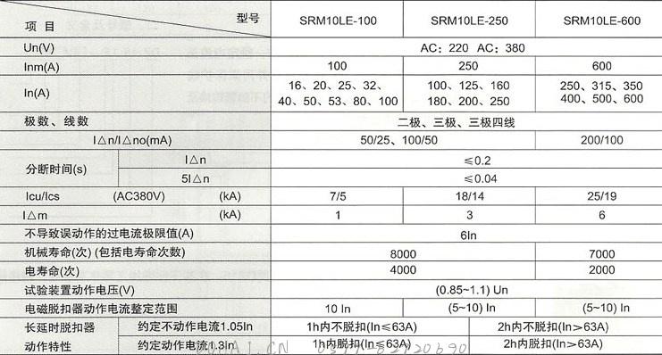 SRM10LE系列漏电断路器的主要技术性能