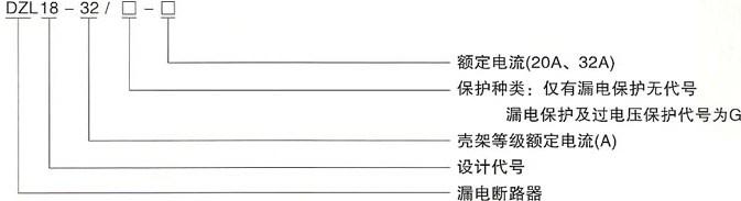 DZL18-32漏电断路器的型号及含义
