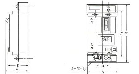 DZ25LE系列漏电断路器的安装示意图