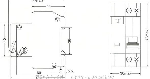 DZ47LE系列漏电断路器的外型及安装尺寸