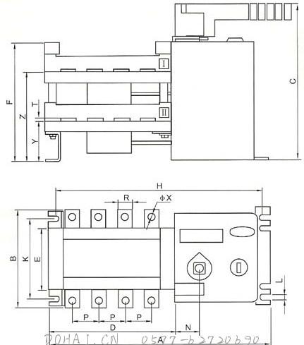 HGLD-32~1600A双电源开关的安装示意