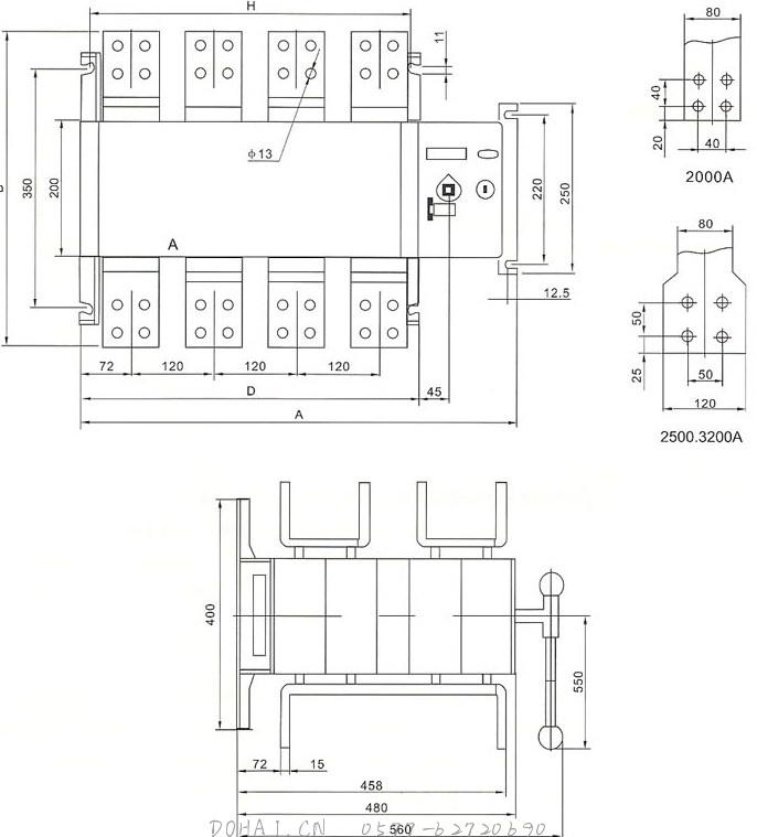 HGLD-2000~3200A双电源开关的安装示意