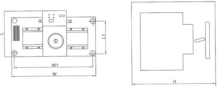 DHQ1B双电源自动切换装置的外型及安装尺寸