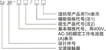 CJ20系列交流接触器的型号及含义