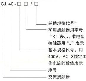 CJ40系列交流接触器的型号及含义
