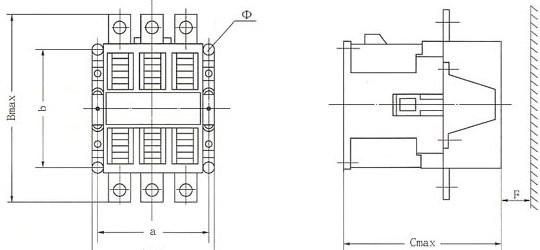 CJ40系列交流接触器的外型及安装尺寸