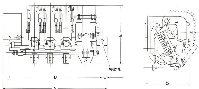 CJ12系列交流接触器的外型示意图