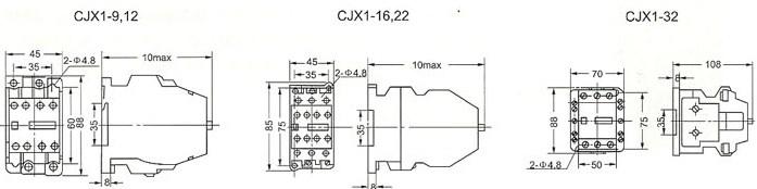 CJX1-9,12 CJX1-16\22 CJX1-32的外型及安装尺寸
