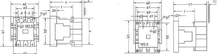 CJX1系列交流接触器的外型示意图