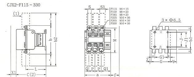 CJX2-F系列交流接触器的外型及安装尺寸