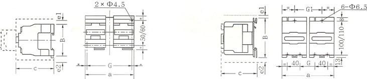 CJX2-N系列交流接触器的外型及安装尺寸