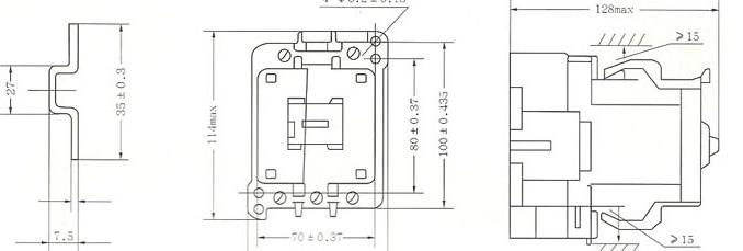 CJX8-9~30用安装导轨     CJX-37~45外形及安装尺寸