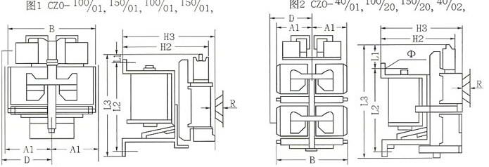 CZO系列直流接触器的外型及安装尺寸