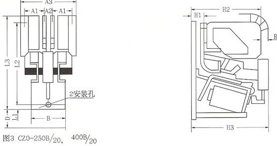 CZO系列直流接触器的外型图