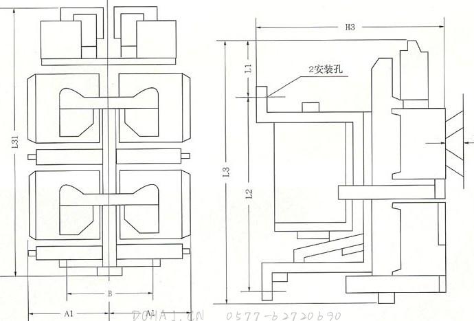CZO-40C、CZO-40D、CZO-40C/22、CZO-100C直流接触器的安装图