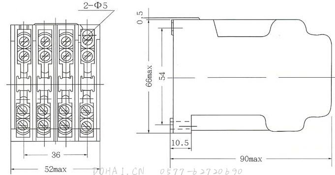 JZ7系列中间继电器的外型及安装尺寸