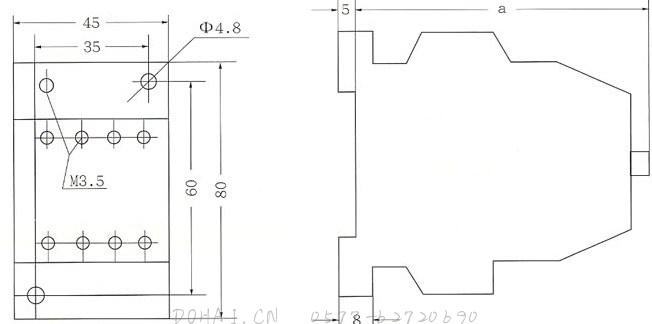 JZC1系列接触器式继电器的外型及安装尺寸